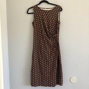 Talbots Brown Polka Dot Faux Wrap Dress Sz S